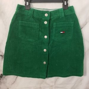 Tommy Hilfiger Green Corduroy Button Up Skirt